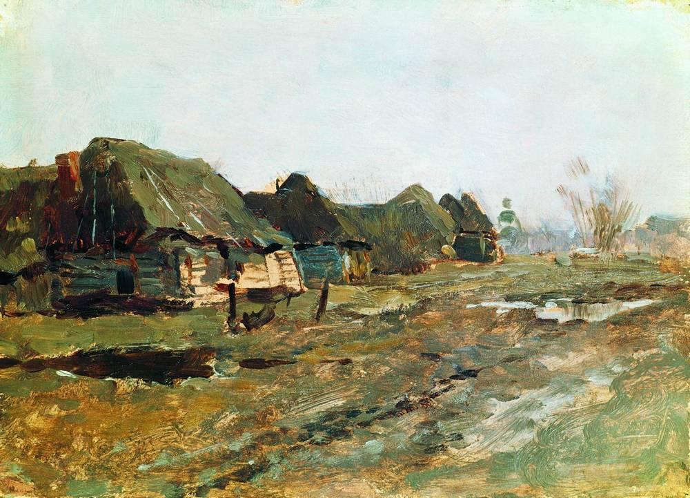 Левитан ИИ Постой в деревне 1890е км14х20 Пермская государственная картинная галерея