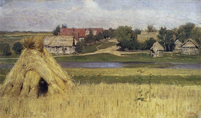 Левитан ИИ Снопы и деревня за рекой Начало 1880 хмГРМ