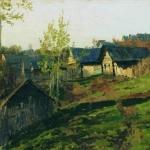 Левитан ИИ Избы освещенные солнцем 1889 км 14х24 Краснодарский краевой художственный музей