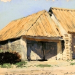 Левитан ИИ Конюшня (Сарай) 1880е хкм 15х24 Вологодская областная картинная галерея