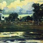 Левитан ИИ К вечеру 1899 Этюд хм 22.5х33.5 ГТГ