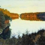 Левитан ИИ Лесное озеро 1890е хм 48.8х80 Ростовский областной музей изобразительных искусств