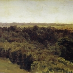 Левитан ИИ Лесок 1889е хкм 19х30 Астраханская картинная галерея