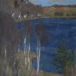 Левитан ИИ Озеро Весна 1898 хм 91х59 Пензенская обл картинная галерея