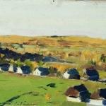 Левитан ИИ Осенний пейзаж Деревня км 11х20 Калмыцкая картинная галерея