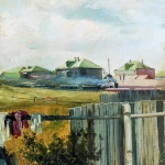 Левитан ИИ Пейзаж с забором хм Частное собрание