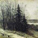 Левитан ИИ Пейзаж 1892 б уголь 48х58 Государственный музей изобразительных искусств Кыргызстана
