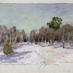 Левитан ИИ Сад в снегу 1880е картон мелованный графитный карпндаш гуашь 29х35 ГРМ