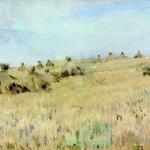 Левитан ИИ Снопы 1887 км 14х35 Приморская краевая картинная галерея