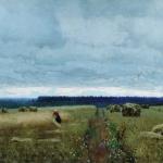 Левитан ИИ  Сумрачный день Жнивье 1890-е  хм 71х123  Пермская гос худ галерея