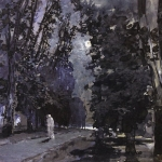 Левитан ИИ  Тени Лунная ночь  б акв тушь перо 16х22  Нац галерея Армении