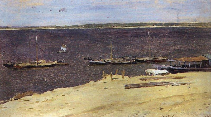 Левитан ИИ  Волга Ветренный день 1880е  бкм 19х33  Гос музей изобразит искусств Республики Татарстан