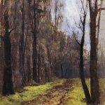 Левитан ИИ  Дорога в лесу Осень 1890е  хм 27х21  Яросдлавский художественный музей