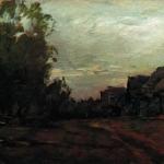 Левитан ИИ  Деревня Сумерки 1897 хм 18.5х27.5  Частное собрание