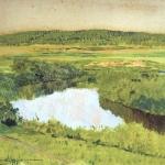 Левитан ИИ К вечеру Река Истра 1885 км 20х31 Башкирский гос художественный музей