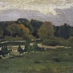 Левитан ИИ  Лесной пейзаж 2я половина 1880х хкм 21х31  ГРМ