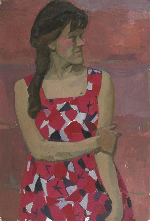 Попков Девушка в красном сарафане 1964