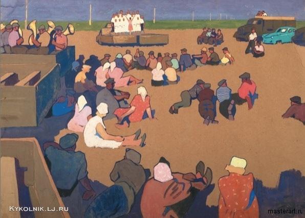 Попков Концерт на полевом стане Из серии Целинный совхоз Ижевский 1961