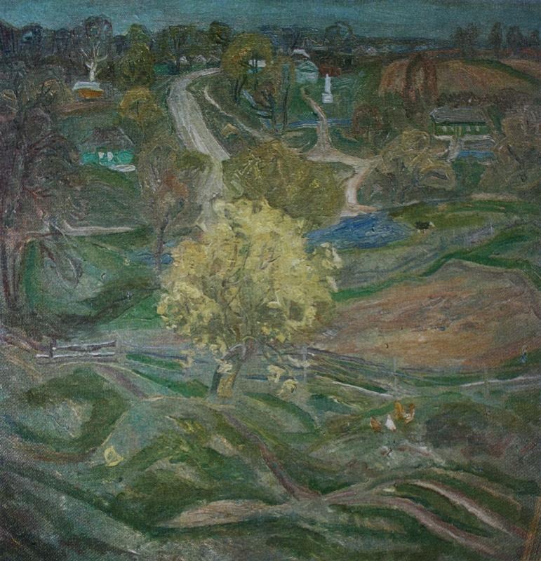 Попков Пейзаж с цветущей ивой 1974 хм 70х70
