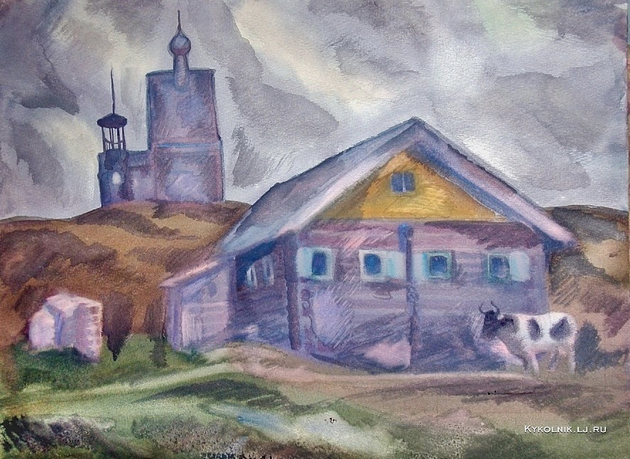 Попков Розовый день Деревня Вершинино 1972 ба 36х48 ГТГ