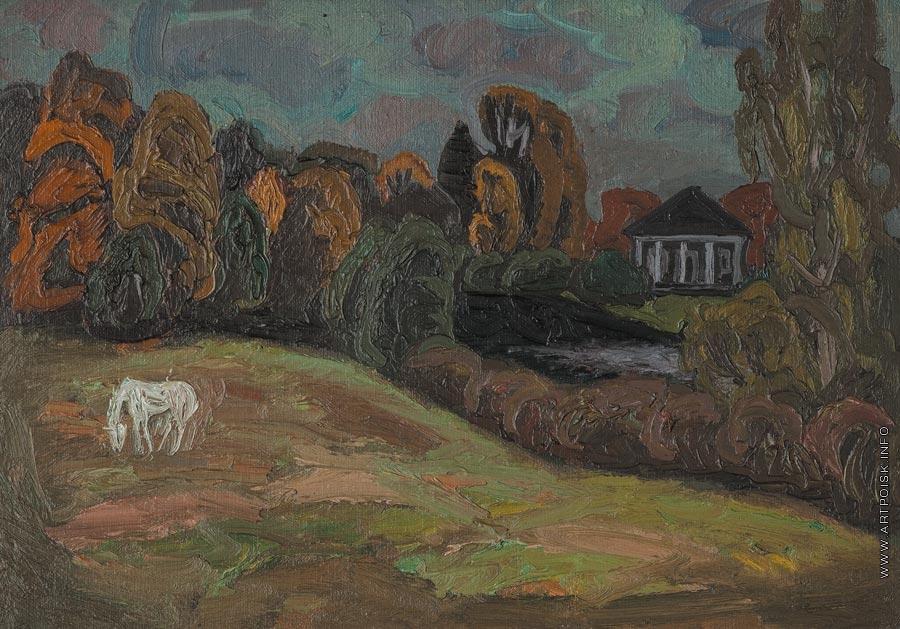 Попков Тригорское Пейзаж с лошадью 1973 хкм 50х70