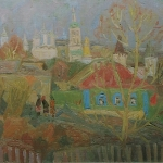 Попков Весенний день в Боровске 1974 хм 49х69