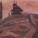 Попков Часовня в деревне Зехново 1972 ба 36х48 ГТГ