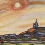 Попков Желтое солнце в Вершинине 1972 б акв 36х48 ГТГ