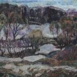 Попков Последний снег в Уланове 1974 хм 49х69